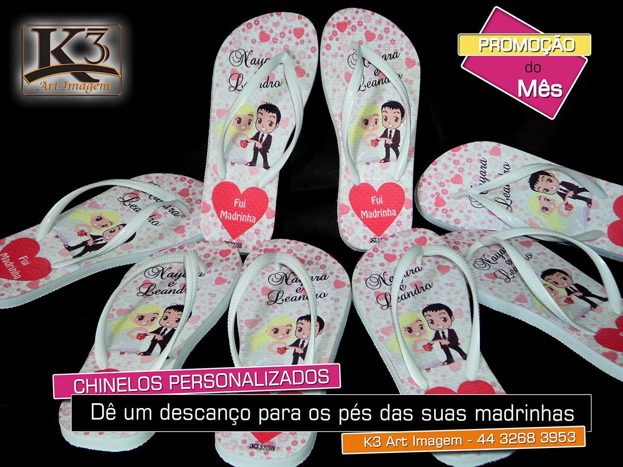 Chinelos Personalizados para lembrancinha de  casamento, formaturas, 15 anos, empresas - K3 Art Imagem - 44 3268 3953